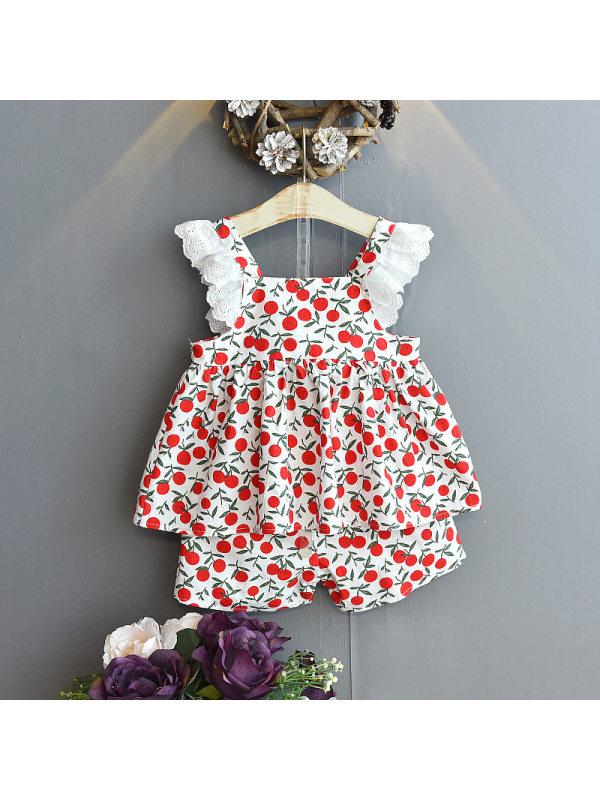 【18M-7Y】Girls Fruit Print Vest Shorts Set