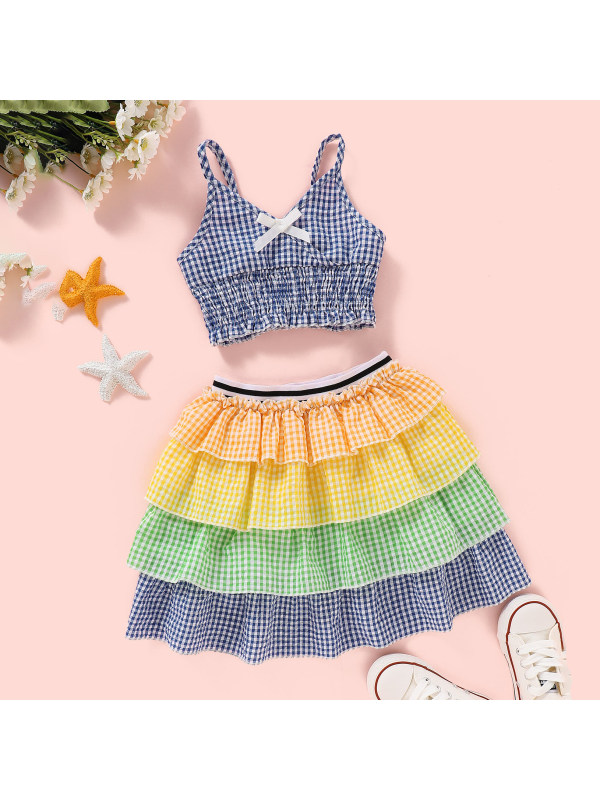 【18M-7Y】Girl Colorful Multi-layer Swing Cake Skirt Set