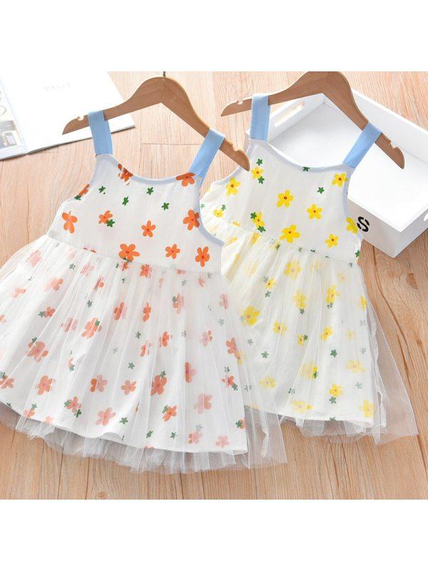 【18M-7Y】Girls Flower Print Suspender Dress