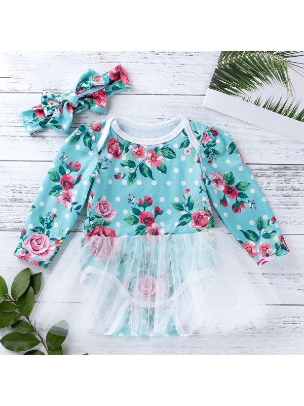 【3M-6M】Baby Flower Printed Blue Green Knitted Mesh Long Sleeve Romper Dress With Turban