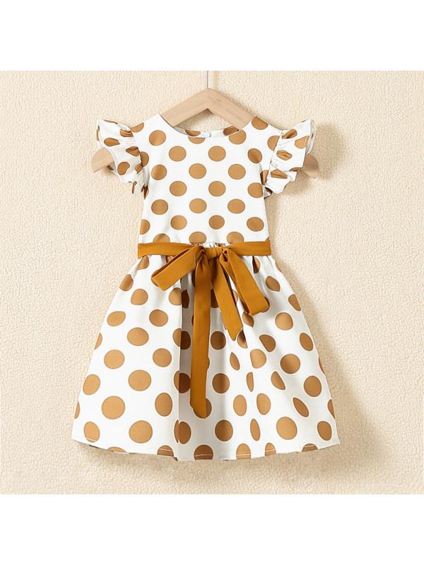 【18M-7Y】Sweet Khaki Polka Dot Round Neck Dress