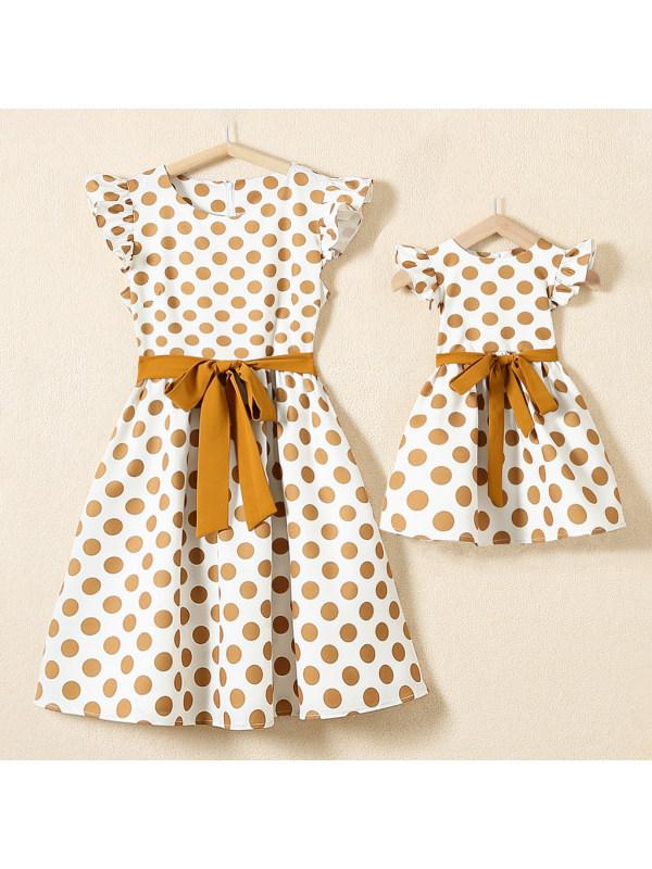 Round Neck Polka Dot Printed White Mom Girl Matching Dress