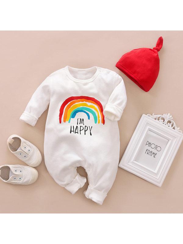 【3M-24M】Baby Rainbow Pattern Long Sleeve Jumpsuit