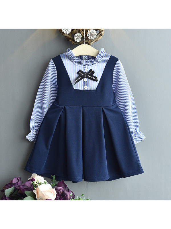 【18M-7Y】Blue Striped Stand Collar Long Sleeve Fake Two-piece Dress
