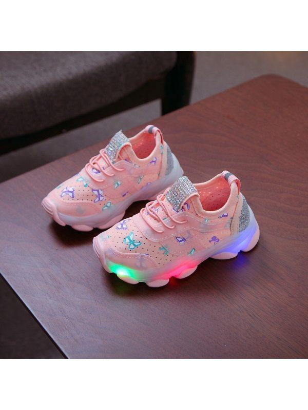Girl Led Light Bow Pattern Sneakers