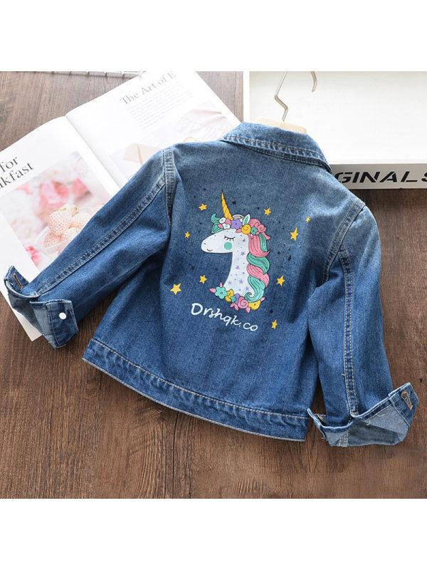 【2Y-9Y】Girls Autumn Unicorn Print Blue Denim Jacket - 3105