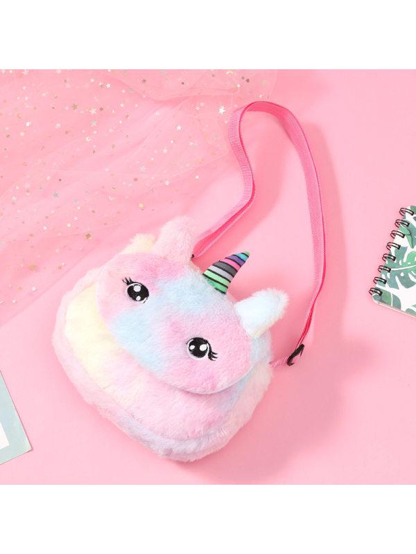 New Unicorn Cartoon Plush Shoulder Bag Children Plush Coin Purse Little Girl Shoulder Messenger Bag Female