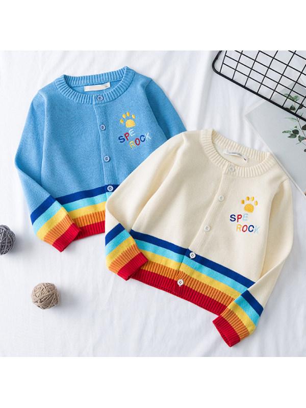 【12M-9Y】Rainbow Striped Long Sleeve Knit Cardigan