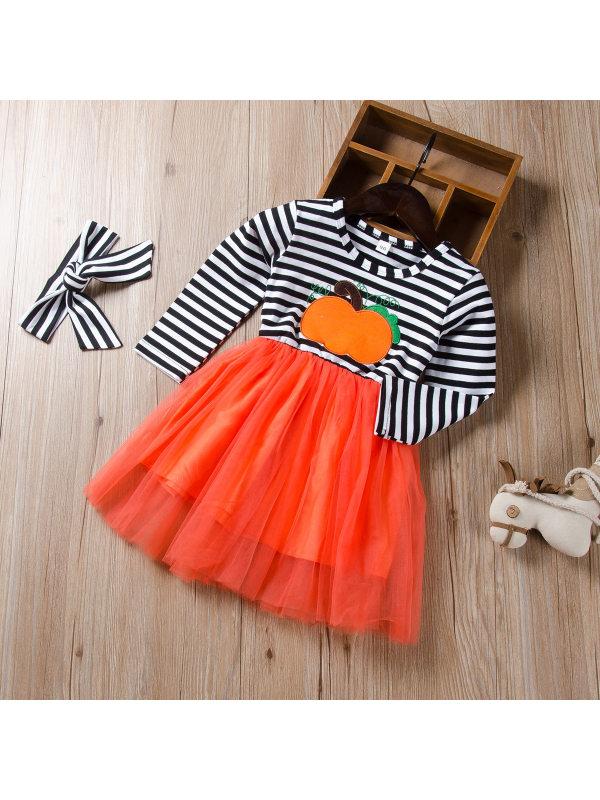 【18M-7Y】Girls Striped Cartoon Print Mesh Dress