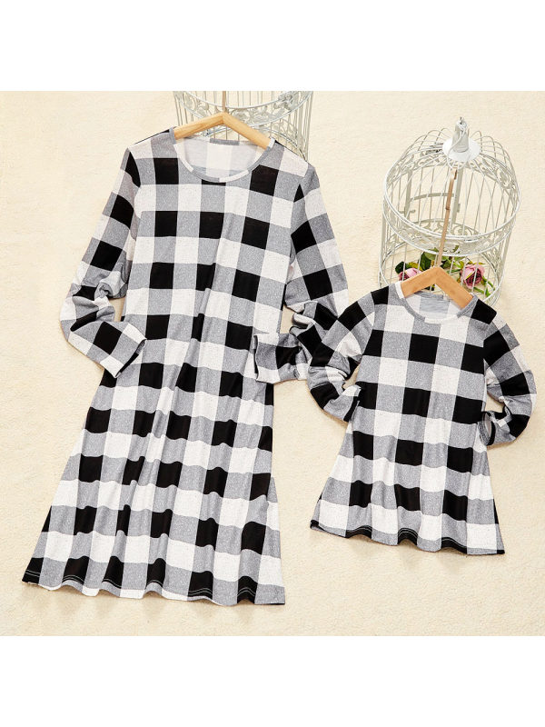 Casual Long Sleeve Black And White Mom Girl Matching Dress