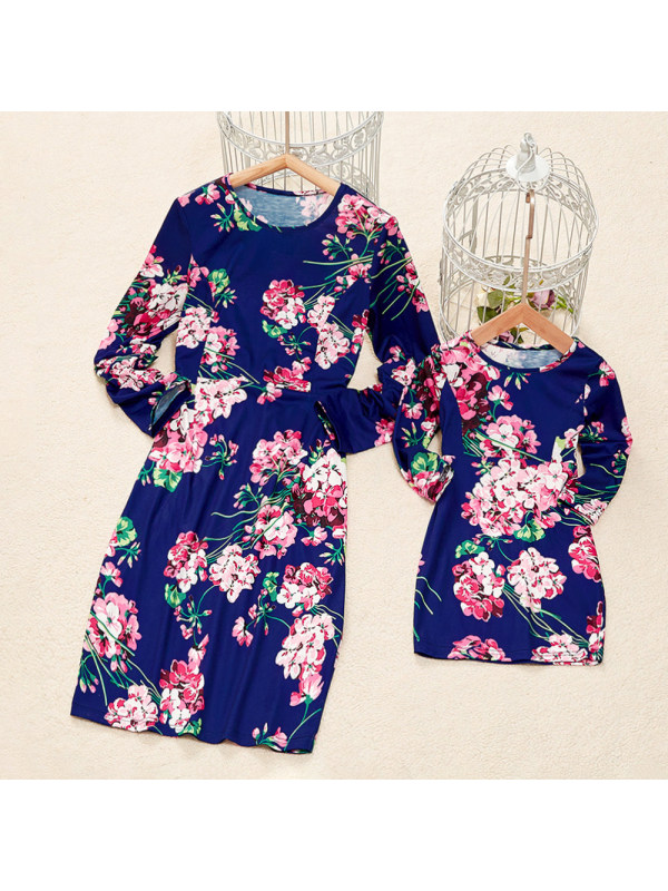 Blue Flower Round Neck Long Sleeve Mom Girl Matching Dress