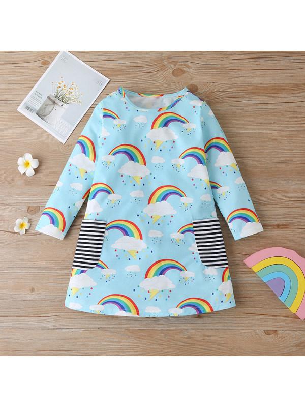 【12M-5Y】Girls Rainbow Print Long Sleeve Dress