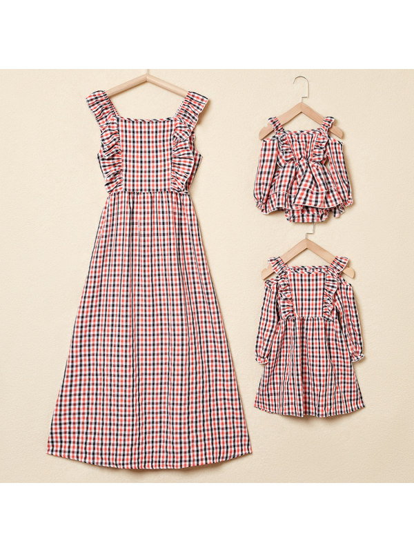 Red Off-The-Shoulder Plaid Mom Girl Baby Matching Dress
