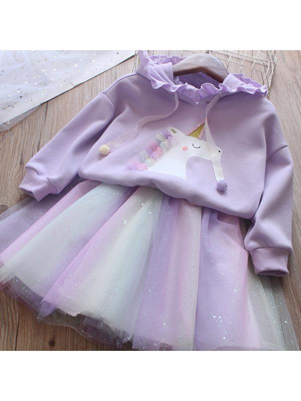 【2Y-9Y】Unicorn Print Hoodie And Colorful Mesh Skirt Set