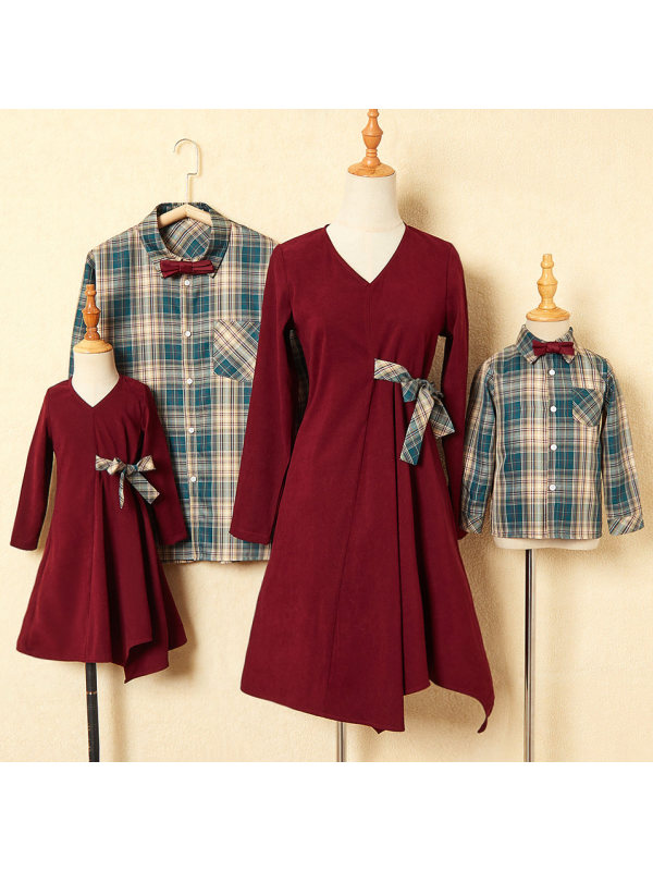 Red Dress And Plaid Shirt Family Matching Outfits