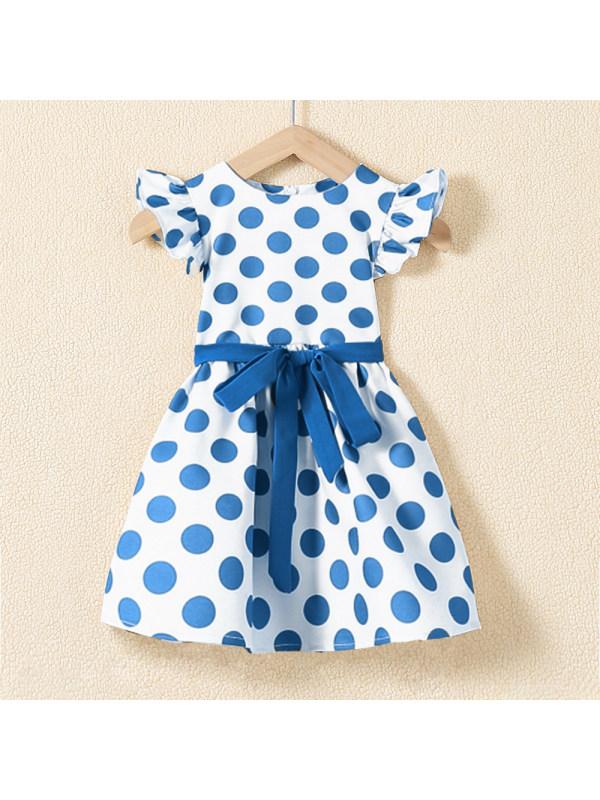 【18M-7Y】Cute Blue Polka Dot Round Neck Dress