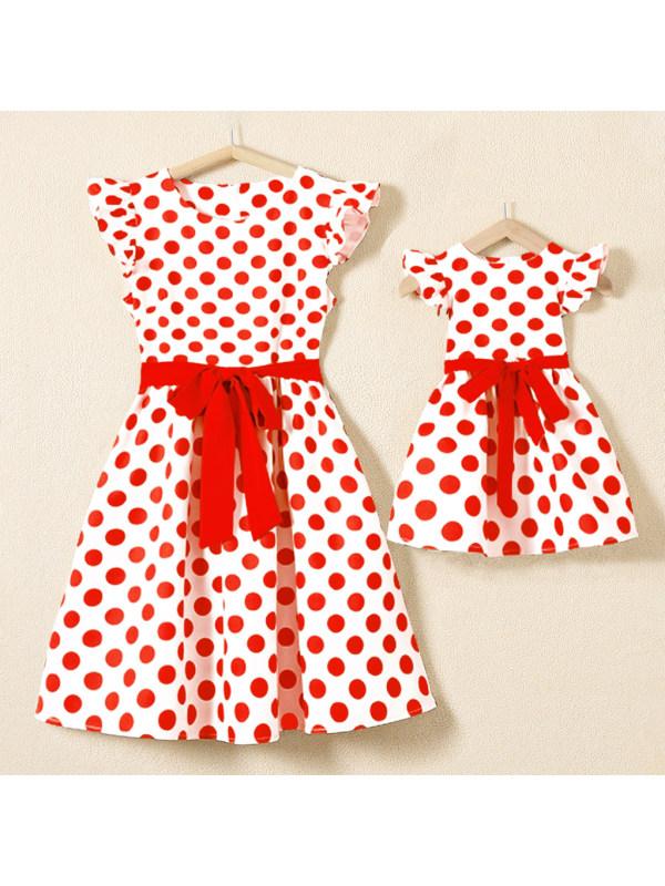 Classic Cap Sleeve Red Polka Dot Printed Mom Girl Matching Dress