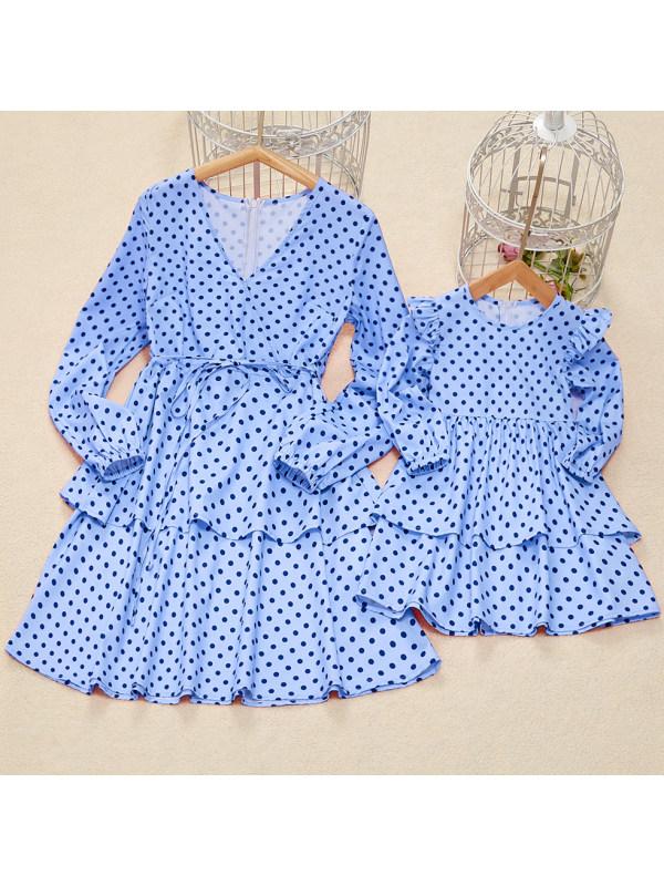 Long Sleeve Polka Dot Blue Print Mom Girl Matching Dress - 1327