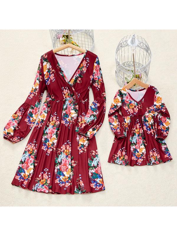 Red Flowers Long Sleeve Mom Girl Matching Midi Dress