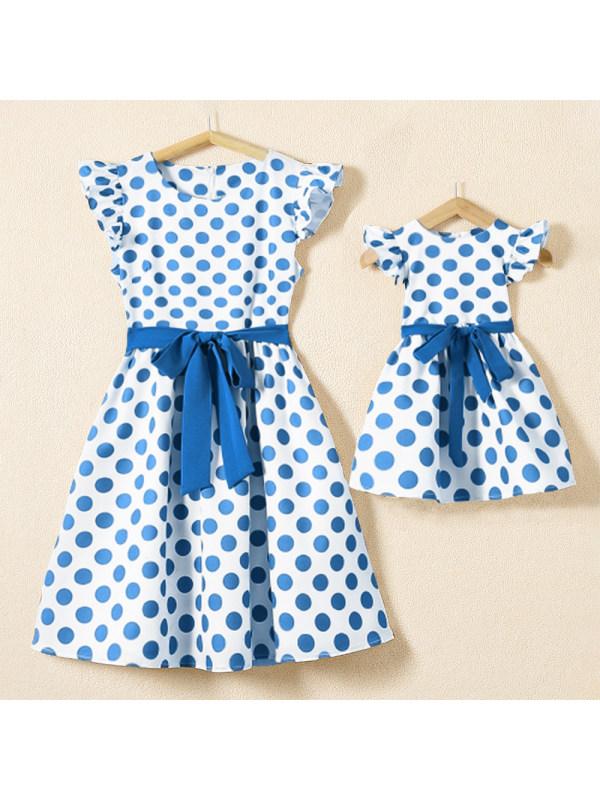 Blue Polka Dot Print Flying Sleeve Mom Girl Matching Dress