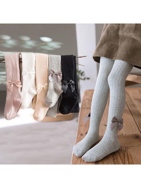 【6M-9Y】Girls Bow Striped Pantyhose