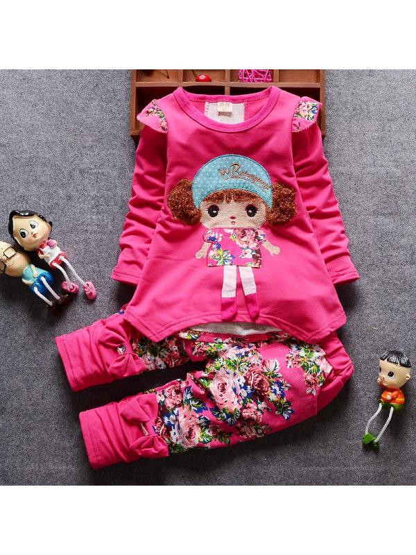 【12M-4Y】Cute Embroidered Long-Sleeved T-Shirt And Pants Set