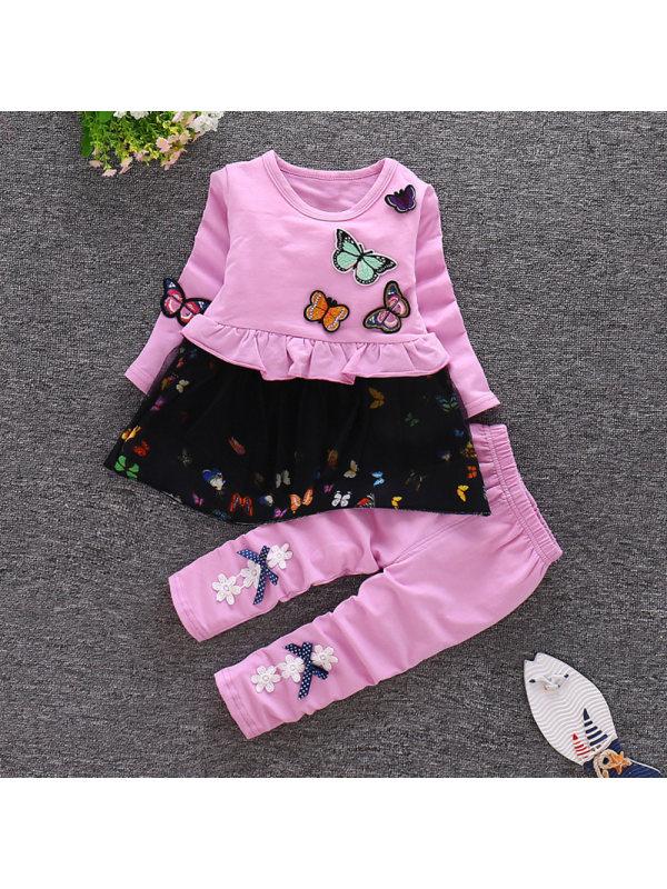 【12M-4Y】Girls Butterfly Embroidery Sweatshirt Pants Suit
