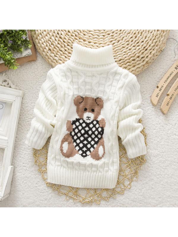【18M-9Y】Bear Pattern High Neckline Sweater