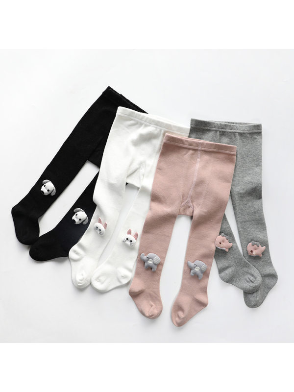 【6M-5Y】Girls Cartoon Doll Pantyhose Combed Cotton Tights Cute Leggings