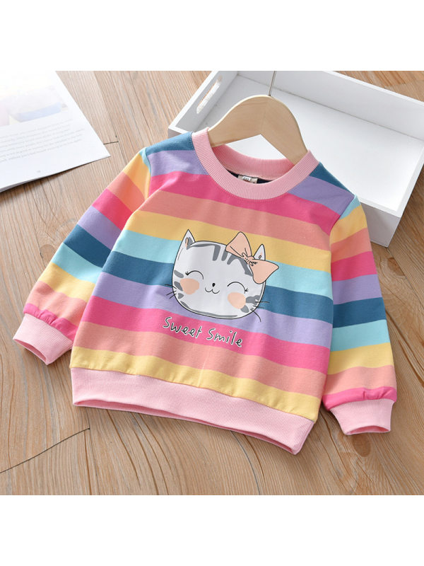 【18M-7Y】Girls Color Striped Crew Neck Sweater