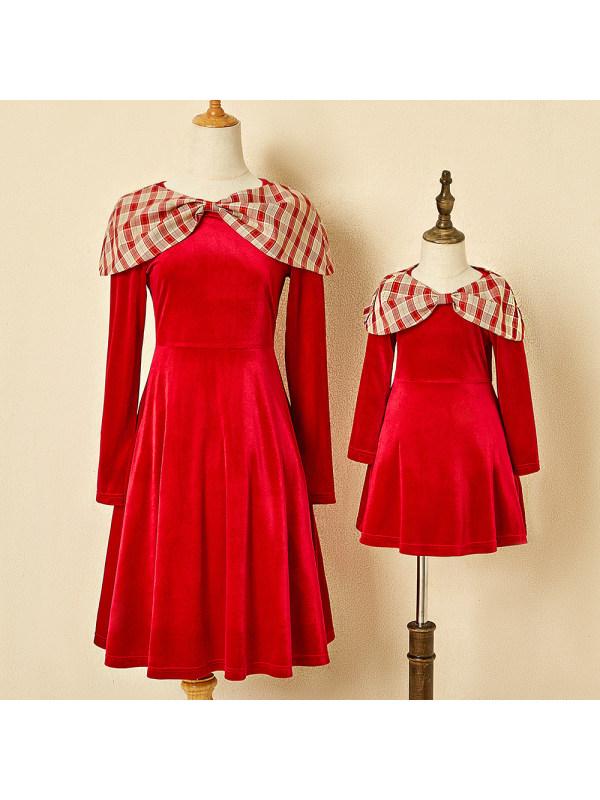 Plaid Style Shawl Red Velvet Mom Girl Matching Dress