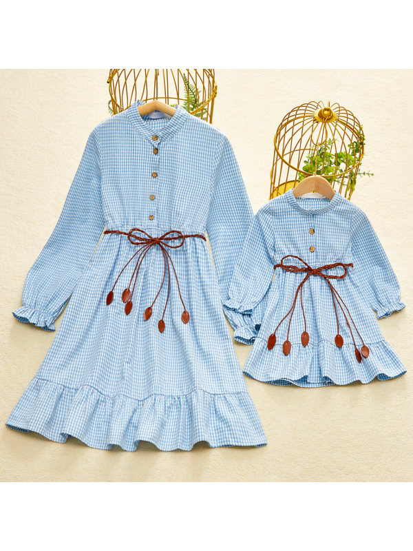 Fashion Collar Long Sleeve Blue Plaid Mom Girl Mathcing Dress With Belt