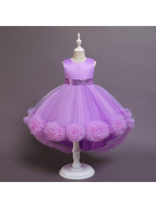 【2Y-11Y】Girls Round Sleeveless Puffy Princess Dress