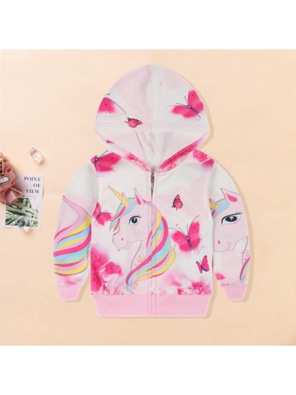 【2Y-9Y】Girls Unicorn Print Hooded Jacket