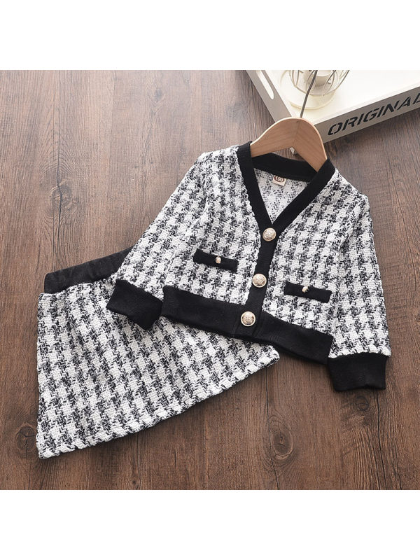 【12M-7Y】Girls Winter Houndstooth Jacket And Skirt Suit