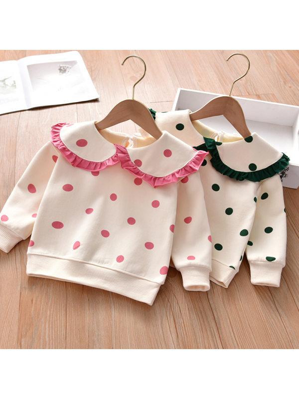 【18M-7Y】Girls Polka Dot Lapel Sweatshirt