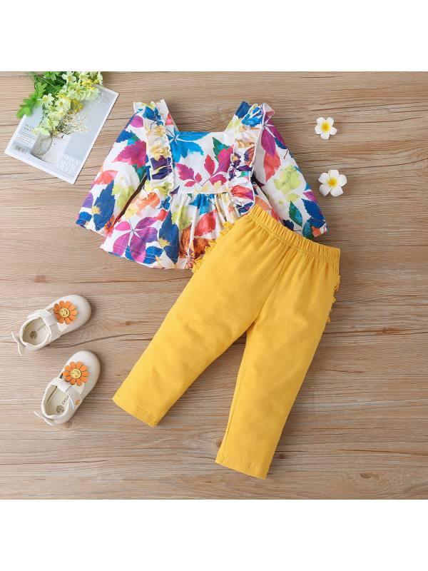 【12M-5Y】Girls Maple Leaf Print Square Neck T-Shirt Pants Set