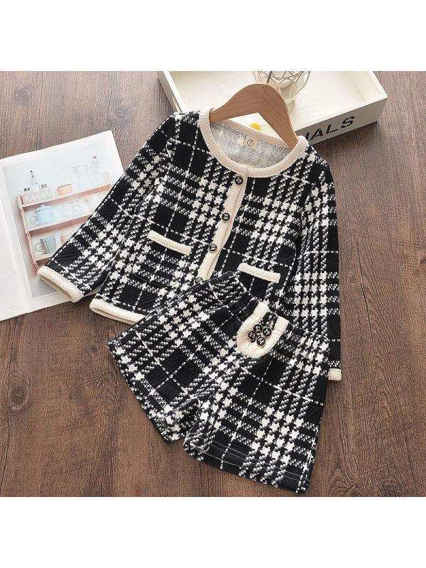 【18M-7Y】Girls Plaid Jacket Shorts Suit