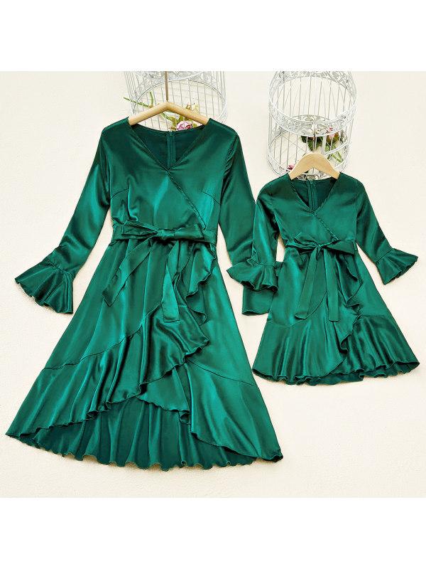 Irregular Shawl Collar Long Sleeve Green Stain Mom Girl Matching Dress - 1324
