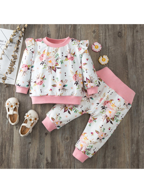 【9M-3Y】Baby Girl Pink Floral Print Sweater and Pants Set