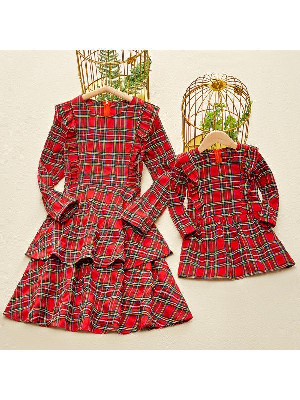Long Sleeve Red Plaid Ruffled Mom Girl Matching Dress - 1305