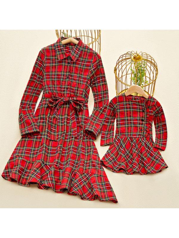 Fashion Long Sleeve Red Plaid Mom Girl Matching Dress