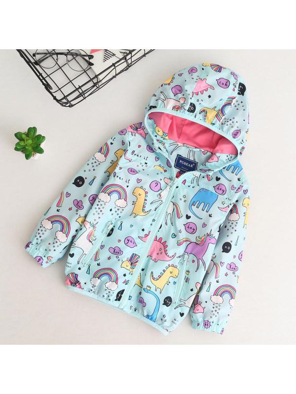 【18M-7Y】Unicorn Cartoon Print Hooded Jacket