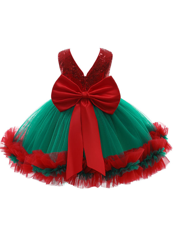 【12M-5Y】Girls Princess Dress with Bow Sequin Dress