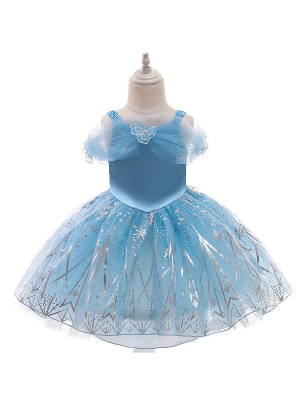 【12M-5Y】Girls Short Sleeve Puffy Blue Princess Dress