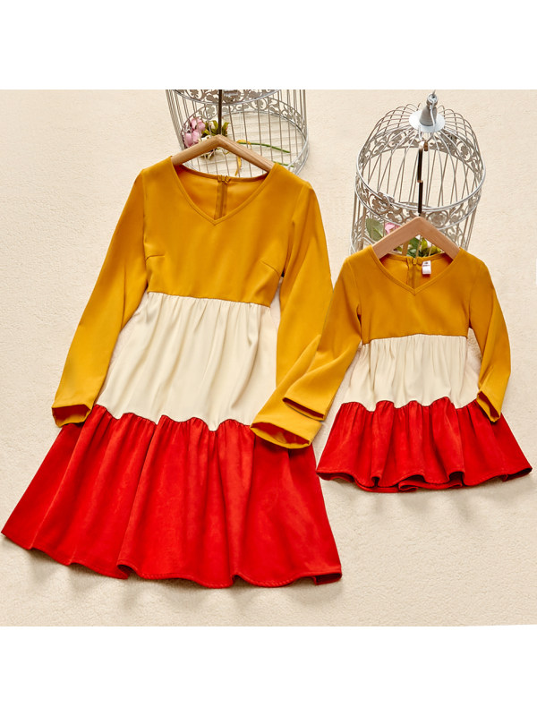 Casual V-neck Long Sleeve Colorblock Mom and Girl Matching Dress