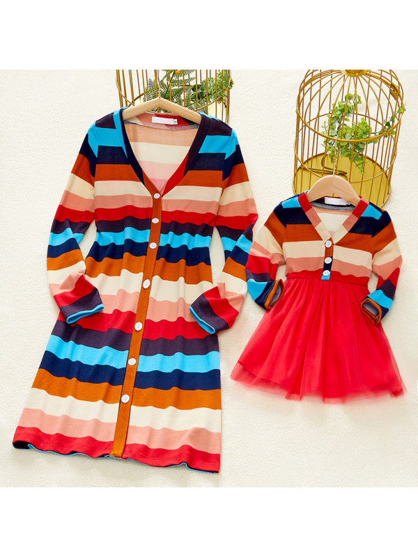 Casual V-neck Long Sleeve Color Striped Mom Girl Matching Dress