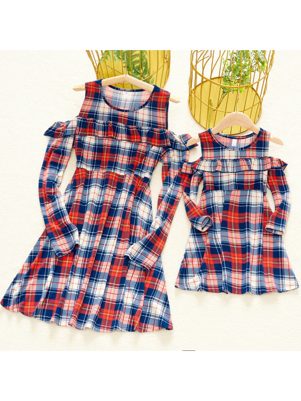 Round Neck Long Sleeve Cold Shoulder Red Plaid Mom Girl Matching Dress