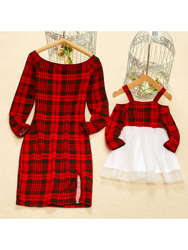 Plaid Off The Shoulder Red Mom Girl Matching Dress