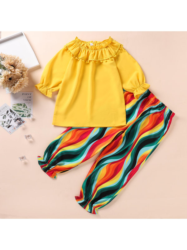 【4Y-10Y】Yellow Round Neck Shirt And Colorful Pants Set